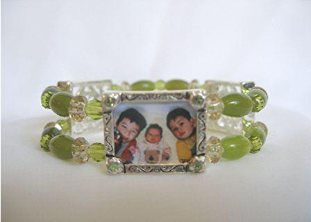 photo charm bracelet - green daisies