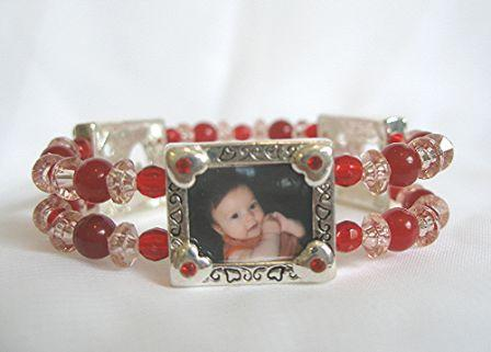 photo charm bracelet - red hearts