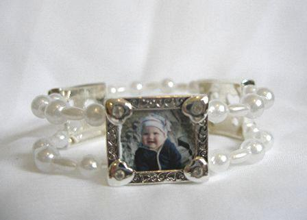 photo charm bracelet - white hearts